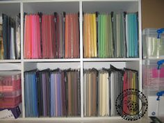 paper storage expandable file folder sections great idea clear Scrapbook Rooms, Scrapbook Storage, Scrapbook Organization, Paper Organization, Studio Organization, Organizing Tips, Craft Storage Box, Craft Shed, Paper Storage