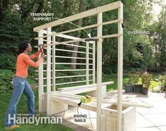 How to Build an Arbor with Built-in Benches #garden_steps_the_family_handyman