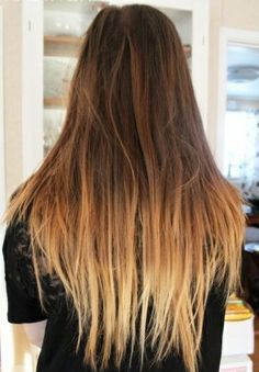 { Blonde dyed tips w/ brown hair }