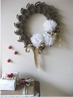 Wreath made out of toilet paper rolls. by danielle