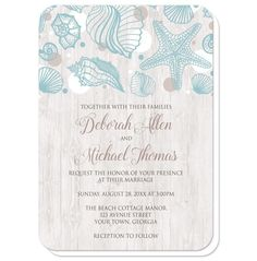Modern and rustic beach wedding invitations with a turquoise seashell outline drawing, tan and white dots, over a whitewashed wood background.