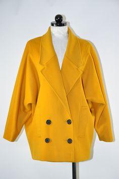 90s mustard wool coat / 1990s short cocoon coat / by QuietUnrest