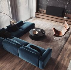 Living Room Interior Apartment - Modern Apartment Interior ideas that Grab Everyone's Attention Living Room Modern, Living Room Interior, Home Living Room, Contemporary Living Rooms, Contemporary Sofa, Urban Living Rooms, Cozy Living, Luxury Living Rooms, Living Room Blue