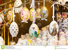 Different Colorful Painted Easter Eggs On The Tree At Traditional European Market