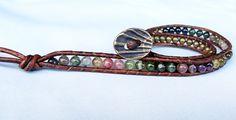 October Birthstone (US) - Watermelon Tourmaline Brown Beaded Leather Bracelet #tourmaline