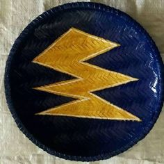 """15"""" ungo baskets boho /Wall Hanging blue and gold  Colored African / boho wall decor hanging / contemporary home decor Africa/ boho wicker b"""