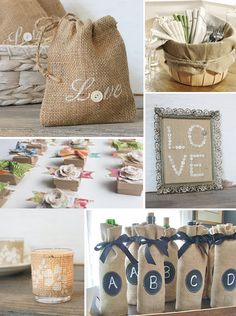 lots of cute burlap wrapping ideas!