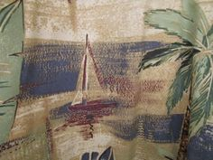 Hawaiian Aloha Large L Shirt Mens Nautical Palm Trees Floral Korea Vtg #HalfMoonBay #Hawaiian