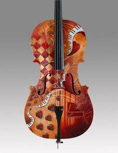 Fun Panorama: Colorfully Painted Violins