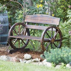Wagon Wheel Wooden Outdoor Bench | www.kotulas.com | Free Shipping