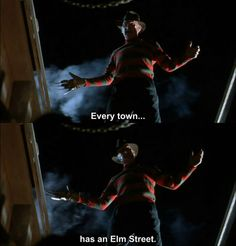 I was on a long drive home the other night and I was in farmland and it was super dark and I passed a street sign that said Elm St. and I kind of fangirled ....