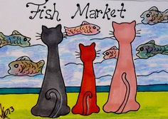 "Aceo Original ""FISH MARKET KITTIES"" pencil/ink ON EBAY"
