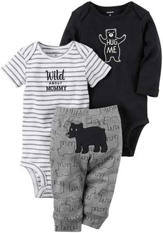 Carter's Baby Boy Wild About Mommy Bodysuit, Bear Bodysuit & Pants Set