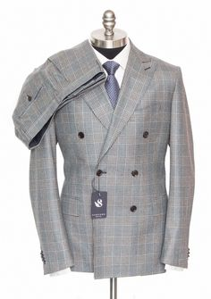 SARTORE Gray Plaid Wool 2Btn Double Breasted Flat Front