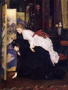 Fashionable young women inspect a Japanese screen, in a painting by James Tissot, ca 1869-70