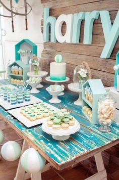 Dessert Table from a Rustic Beach Ball Birthday Party via Kara's Party Ideas! KarasPartyIdeas.com (14)