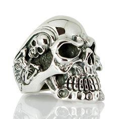 Silver Skull Ring, Sterling Silver Men's Rings, Gothic Rings, Biker Rings, Skeleton Ring by Sterling Mens Skull Rings, Silver Skull Ring, Silver Man, Silver Earrings, Silver Bracelets, Skull Jewelry, Gold Jewelry, Gothic Jewelry, Bullet Jewelry