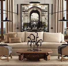 Architectural Elements In This Neutral Living Room Restoration Hardware