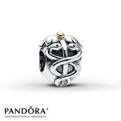 Pandora Charm Life Saver Sterling Silver/14K Yellow Gold