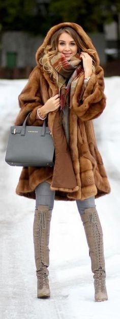 Women's Brown Fur Coat, Grey Skinny Jeans, Grey Suede Knee High Boots, Grey Leather Tote Bag