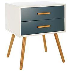 LOMOS® N°.5 Armario suplementario de madera en blanco con dos cajones en moderno tono gris: Amazon.es: Hogar