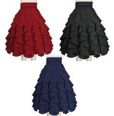 Black Red Blue Pin Up Rockabilly Ruffle Skirt Reg & Plus Sizes $9 To Ship