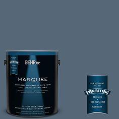 BEHR MARQUEE 1-gal. #S510-6 Durango Blue Satin Enamel Exterior Paint, Skinny Jeans