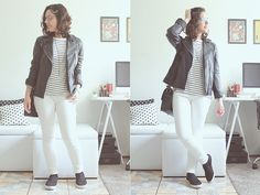 Calça branca + blusa listrada + slip on = <3
