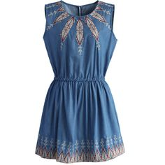 Chicwish Arrow of Chic Chambray Boho Dress ($48) ❤ liked on Polyvore featuring dresses, blue, elastic waist dress, blue bohemian dress, scoop-neck dresses, blue dress and bohemian dress