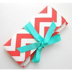 clutch in coral chevron stripe with tiffany blue