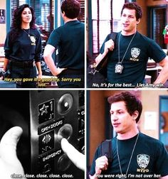 And Jake let Amy win 28 Times Jake And Amy Gave You Heart Palpitations With Their Love Brooklyn Nine Nine Funny, Brooklyn 9 9, Best Tv Shows, Favorite Tv Shows, Detective, Jake And Amy, Obsessed Girlfriend, Jake Peralta, Andy Samberg