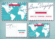travel-themed baby shower invite that can be easily customized to fit a wedding occasion