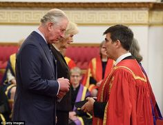 The Prince of Wales was joined by the Duchess of Cornwall at Buckingham Palace to present awards to those working in higher education. Prince Charles And Camilla, Prince Phillip, Royal Prince, Prince Of Wales, Camilla Duchess Of Cornwall, Black Two Piece, House Of Windsor, British Monarchy, Buckingham Palace