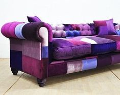 Chesterfield patchwork sofa purple love by namedesignstudio Patchwork Furniture, Living Room Furniture Sofas, Sofa, Purple Sofa, Purple Living Room, Tufted Sofa, Patchwork Sofa, Purple Living Room Furniture, Shabby Chic Furniture