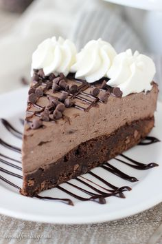 This Brownie Bottom Chocolate Mousse Cake is fudgy brownie is topped with a rich dark chocolate cream cheese mousse. This is the perfect dessert for your favorite chocolate lover.