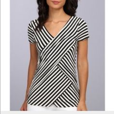 Vince Camuto Small Tropic Stripe Bandage Top Supers soft!  Never been worn. 95% Rayon 5% Spandex. Machine Wash. Good weight fabric and structure. Nice stretch to it.   Long top with approx. 23 inches from back top to bottom. Vince Camuto Tops