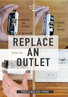 How to Replace an Electrical Outlet. Seriously, YOU can do this. Installing Electrical Outlet, Home Electrical Wiring, Electrical Projects, Electrical Outlets, Home Renovation, Home Remodeling, Buying A Rental Property, Home Fix, Diy Home Repair