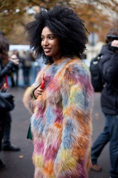 STREET STYLE SPRING 2013: PARIS FASHION WEEK - Julia Sarr-Jamois takes her fur from the wild side.