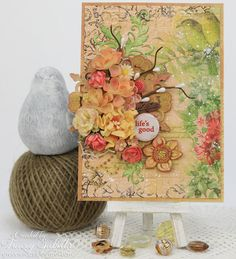 Life's Good Mixed Media Card by Tracey Sabella for ScrapBerry's featuring the Tropical Collection. Prima, BoBunny, Ranger products used as well.