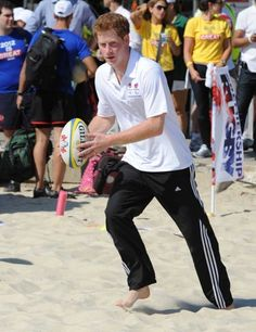 Prince Harry visits Flamengo Beach and plays rugby and beach volleyball in Rio de Janeiro, Brazil.