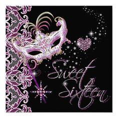 Masquerade Sweet Sixteen Sweet 16 Pink Black Custom Invite by Zizzago.com