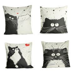 Favorable Honana Animal Pattern Cushion Cover Linen Cat Dog Bird For Home Decoration Pillow Case - NewChic Mobile