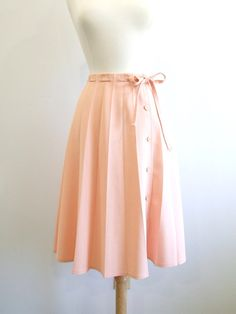 Vintage Pleated Skirt Pastel Peach Skirt  M by RedsThreadsVintage, $28.00
