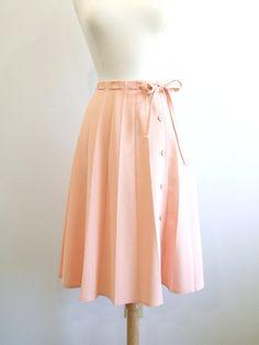 Vintage Pleated Skirt Pastel Peach Skirt  M by RedsThreadsVintage, $28.00