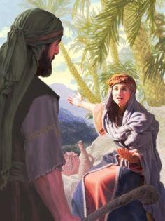 The prophetess Deborah speaks to Barak