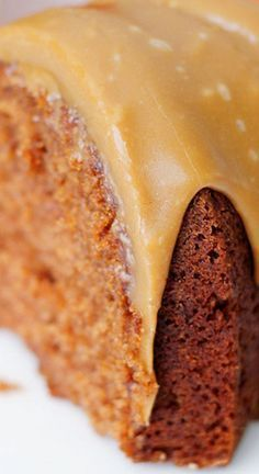 Applesauce Spice Cake with Caramel Glaze ~ Amazing... it's appley, spice-filled and tastes like fall.