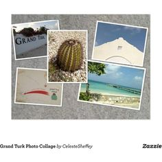 Grand Turk Photo Collage Postcard ($0.98) ❤ liked on Polyvore featuring home, home decor and stationery