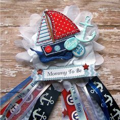 Ahoy Its a Boy Nautical Corsage Nautical Baby by BloomingParty
