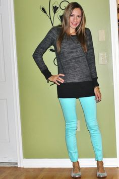 Casual Chic Mom: LOFT LOUNGE SWEATER & MINT SKINNIES