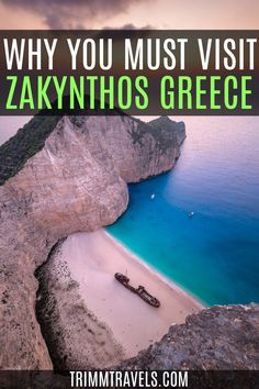 Find out why this Ionian island is considered to be the country's most beautiful beach and why you must visit Zakynthos Greece! Visit Zakynthos | Greece | Visit Greece | Greek Islands | Greek | Travel Greece | Zakynthos in Greece | Shipwreck Beach | Outdoors in Greece | Beaches in Greece | Islands in Greece | Europe | Hiking in Greece | Greek Adventures | Adventures in Greece | Romantic Greece | #zakynthos #greece #islands #europe